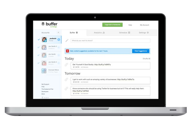 buffer scheduled tweets on laptop