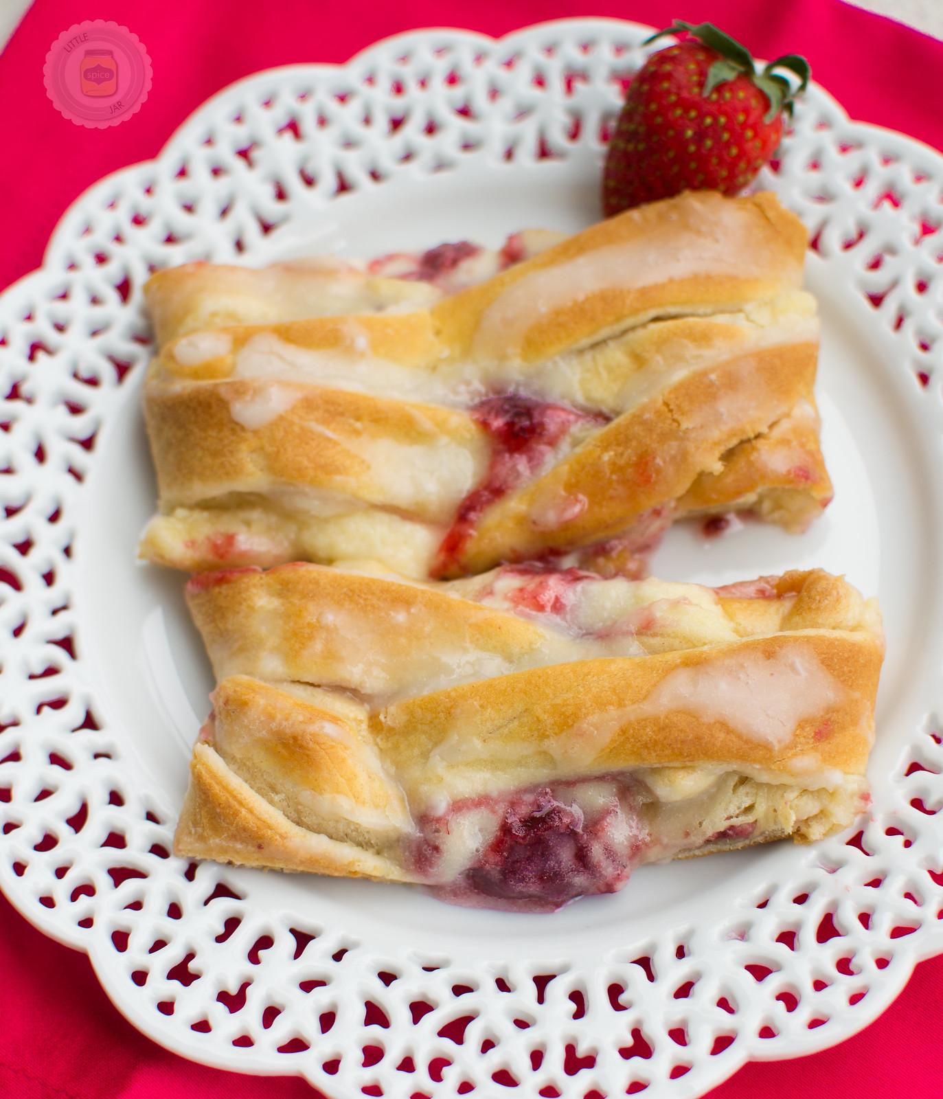 Easy Raspberry Cream Cheese Danish Braid on plate