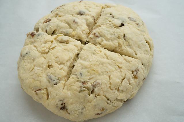 soda bread dough with cross cut