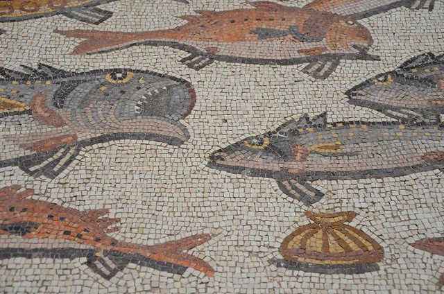 Detail of the Lod Mosaic,  seascape with marine animals; tuna, bream, swordfish, scallops, sea snails, mosaic believed to belong to a large and well-appointed Roman house and is dated to about A.D. 300, found in Lod, Israel