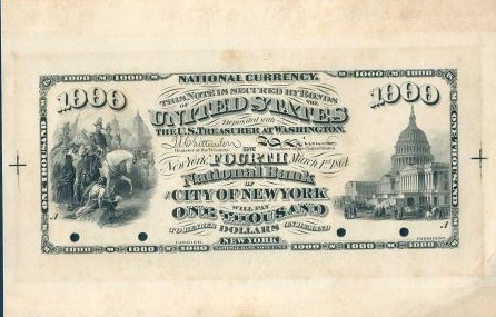 Fourth National Bank of the City of New York $1000 proof