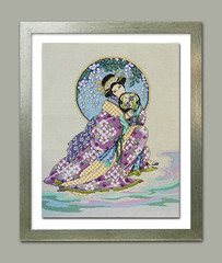 Beautiful Japanese girl completed cross stitch framed embroidered painting Spring Beauty ready to ship