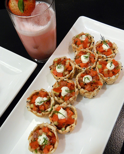BC Liquor Store Rhubarb Fizz with Smoked Salmon Appies