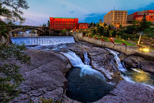 bridge city downtown falls hoopfest landscape places power river riverfrontpark sky spokane spokaneriver summer sunset washington