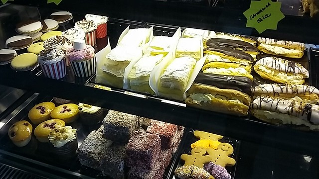 Pastry cabinet, the Flaky Tart bakery.
