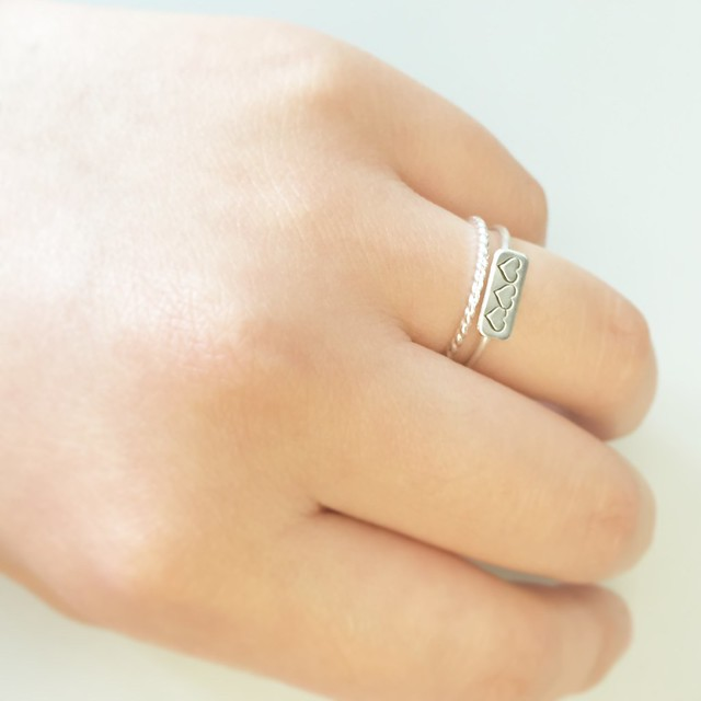 Meadowbelle Market Personalized bar ring and twist ring in sterling silver (c/o)