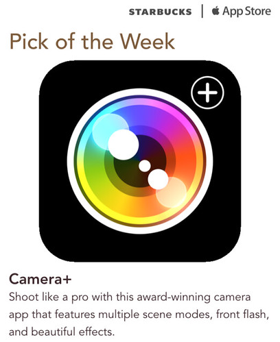 Starbucks iTunes Pick of the Week - Camera+