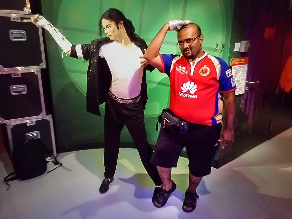 Hrish Thota Nivedith Gajapathi Michael Jackson dance pose Wax Museum Singapore