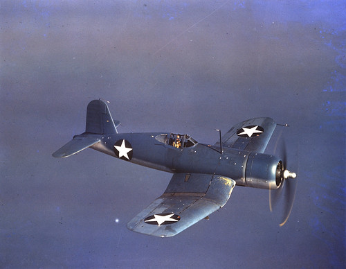 USN Vought F4U-1 Corsair in 1942 Photo by R Arnold.