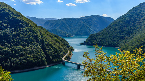 piva hydroelectric power plants pluzine view flora outdoor natural green cloud amazing rocky holiday ecology wonderful azure color pool scene beautiful background nobody montenegro mne