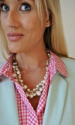 Outfit: pink gingham + mint + pearls