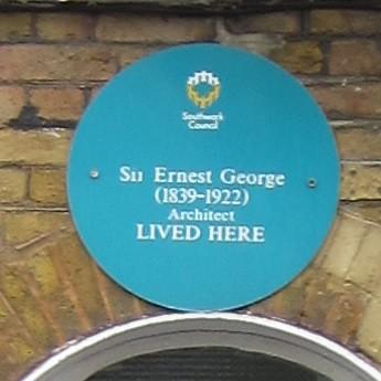 Ernest George brushed metal plaque - Sir Ernest George (1839–1922) architect lived here