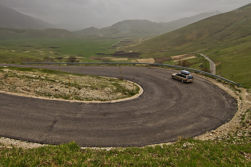 High plain of Castelluccio & fathers Opel Astra:)