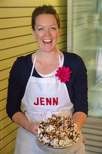 Jenn from (Jenn & Larry's) showing off one of her ice cream pies | Foodie Day Trip from Toronto