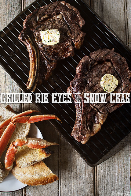 Grilled Rib Eyes & Snow Crab via GirlCarnivore.com