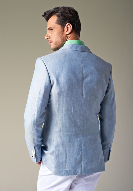 Free Shipping Bespoke Custom Light Blue Linen Men S Blazer