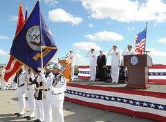 An honor guard presents the colors during the U.S. 7th Fleet change of command ceremony, July 31 aboard USS Blue Ridge (LCC 19). (U.S. Navy photo by Mass Communication Specialist 1st Class Joshua Karsten)