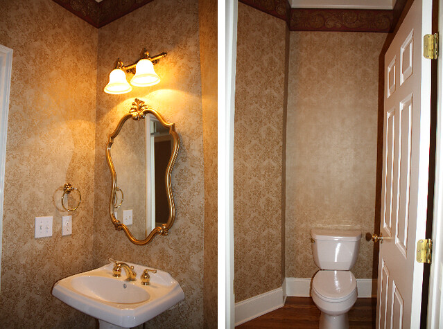 wallpapered powder room before