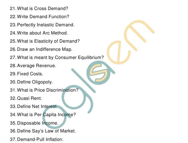 AP Board Intermediate I YearEconomicsModel Question Paper