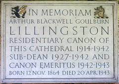 Photo of Arthur Blackwell Goulburn Lillingston marble plaque