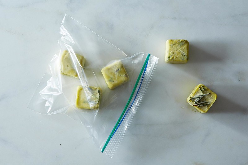 Olive Oil and Herb Ice Cubes
