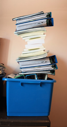 A very unsteady pile of files by Helen in Wales