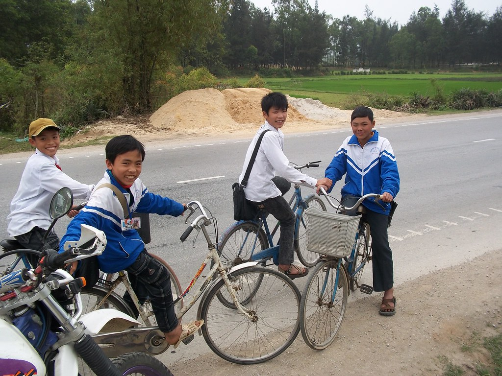 Fun locals on the road to Cua Lo, Vietnam
