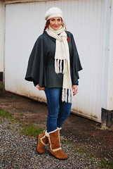 Cream beanie and scarf with grey cape, blue skinnies & tan sheepskin boots