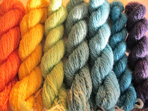 Handspun and hand dyed yarn from The Outside