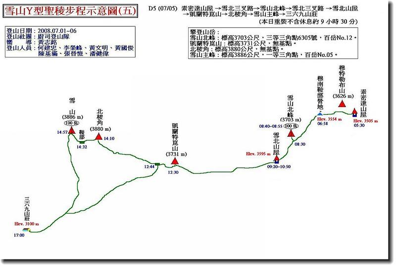 雪山Y型聖稜步程示意圖(五)