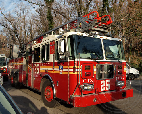 FDNY Ladder 25 Fire Truck, Deadly Metro-North Passenger Train Derailment near the Spuyten Duyvil Station in the Bronx, New York City