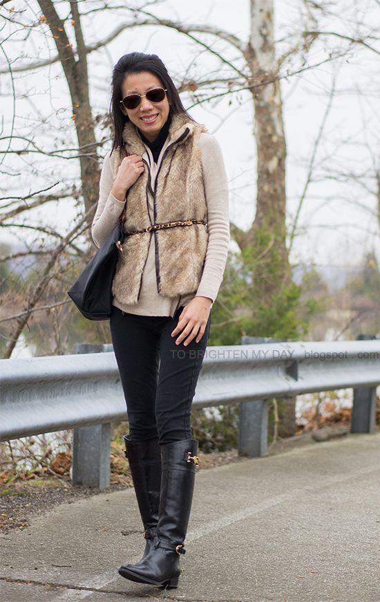 fur vest, camel open cardigan, black riding boots