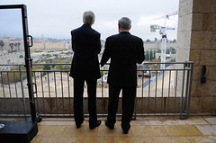 Secretary Kerry Chats With Israeli Prime Minister Netanyahi