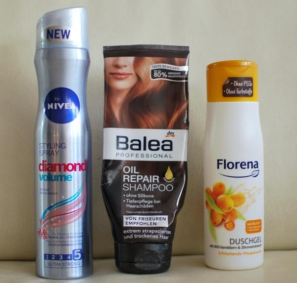 NIVEA diamond volume Styling Spray | Balea Oil Repair Shampoo | Florena Duschgel BIO Sanddorn & Zitronenstrauch