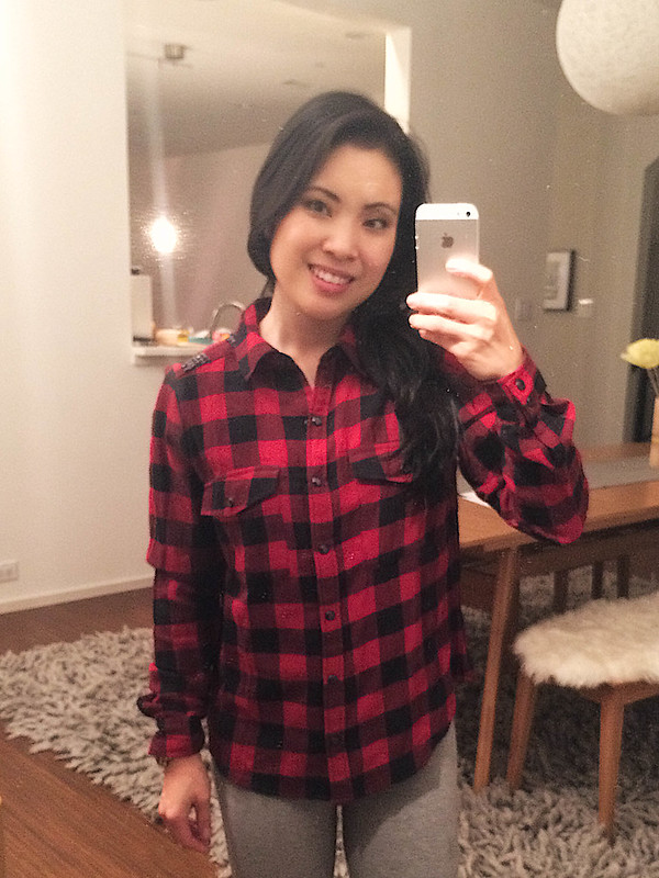 cute & little blog | forever 21 buffalo plaid sequined shirt