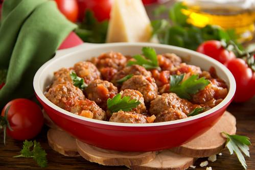 Meatballs in Italian tomato sauce.
