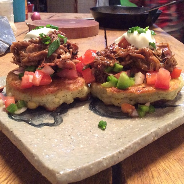 pulled pork, corn fritter stack w/ chunky salsa & home made sour cream.