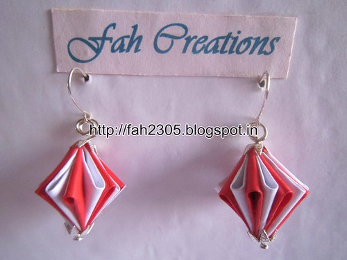 Handmade Jewelry - Origami Unit Diamond Paper Earrings (6) by fah2305