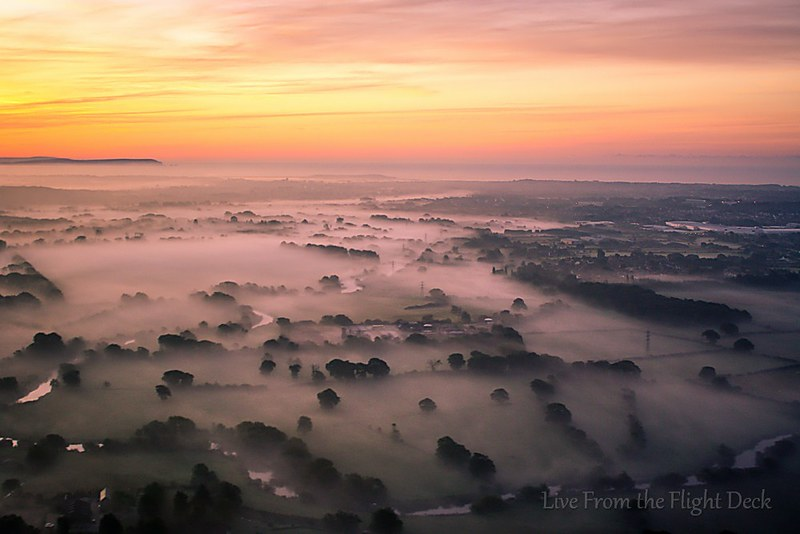 Fantastic morning light over foggy England