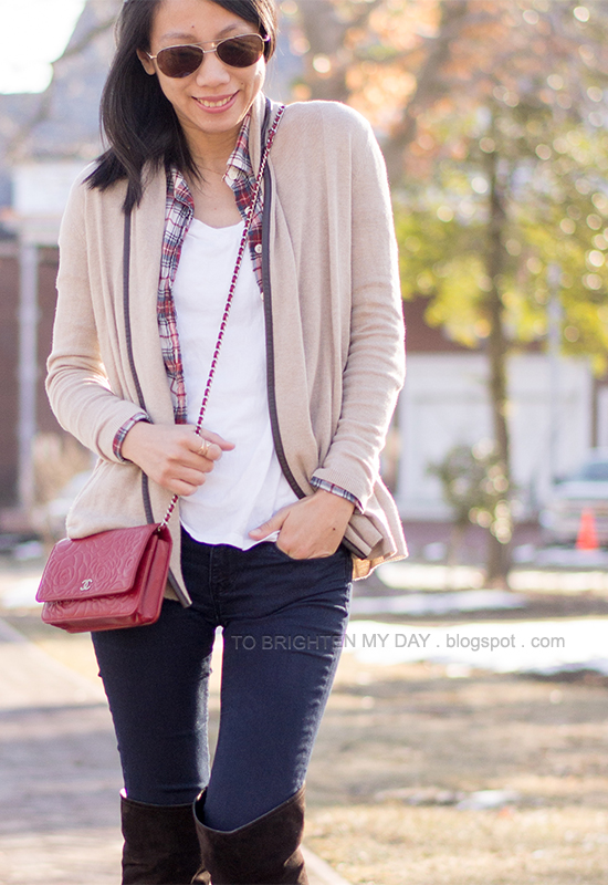 camel open cardigan, plaid shirt, white tee, brown suede over the knee boots
