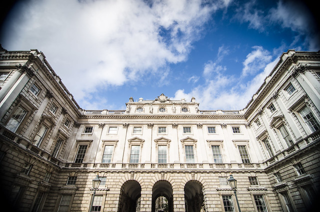 A wide angle view of Somerset House, home of The Courtauld Gallery, in London.