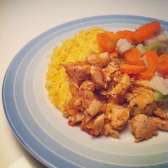Salsa chicken with curry rice. #food #cooking #vetables #chicken #dinner #rice #curry