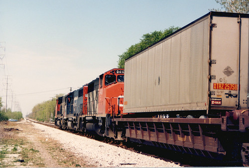 Northbound Grand Trunk Western Railroad intermodal train approaching Marquette Park.  Chicago Illinois.  May 1987. by Eddie from Chicago