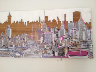 4ft long x 8in wide Mix medium  Cityscape from George Washington Bridge to Chelsea