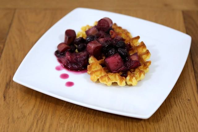 Rhubarb Blueberry Waffles