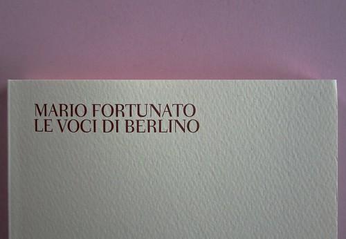 Mario Fortunato. Le voci di Berlino. Bompiani 2014. Progetto grafico: Polystudio; copertina: Carla Moroni; alla cop.: M. Weigel e U.M. Lene: @ H. Wilms; ritr. fotg. b/n dell'autore: @R. Bianchi. Copertina. (part.), 1