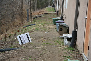 Warning sign near CoMo feral cat colony    Matt Schacht photo