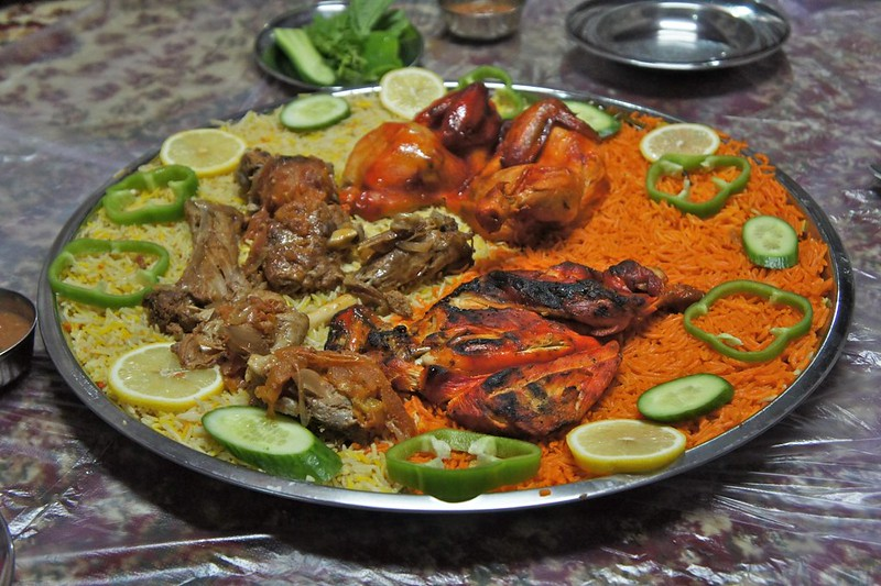 Yemeni style chicken and lamb at Al Tawasol Restaurant, Diera