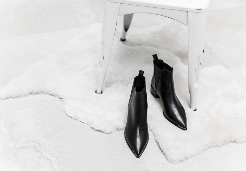 Acne Studios Jensen ankle boot, modern legacy, fashion blog, black leather, pointed toe, white-washed chair, interiors, shearling rug (1 of 1)