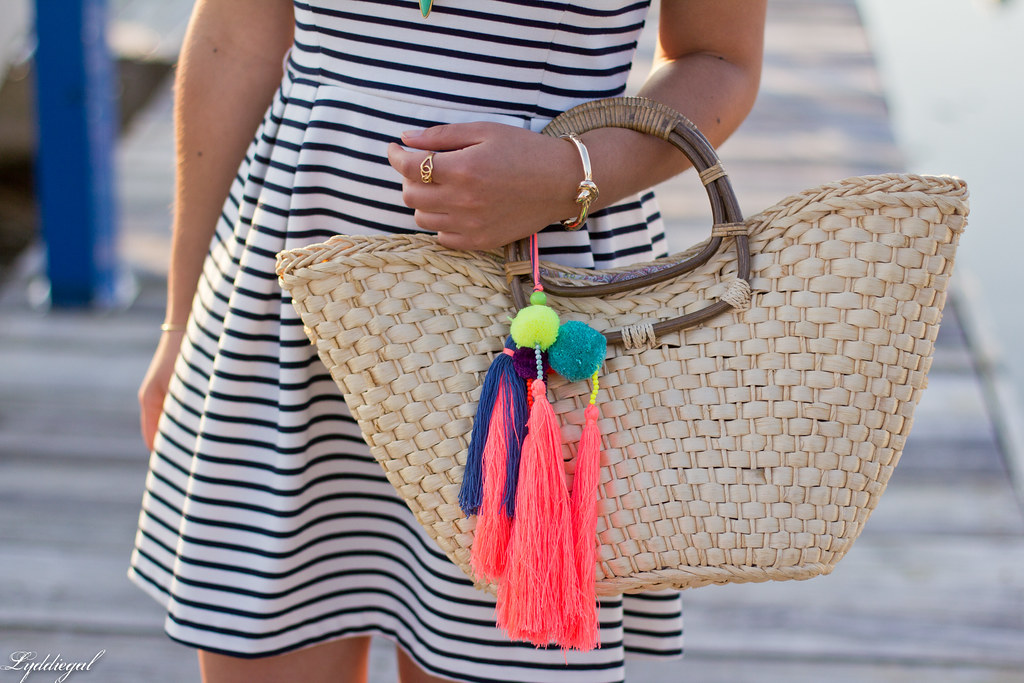 striped dress, straw tote with pom poms, gold sandals-10.jpg